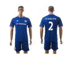 2015-2016 Chelsea #2 IVANOVIC Home Blue Soccer Jersey