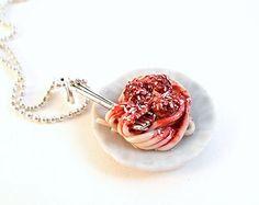 Super lindo polímero arcilla helado encanto (1,4 pulgadas), en 24  plata o bronce collar de cadena de bola.