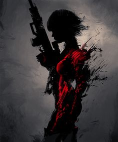 silhouette of girl with gun, red accents