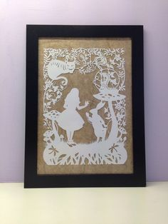 Alice In Wonderland Framed Paper Cut by lovefromAngie on Etsy