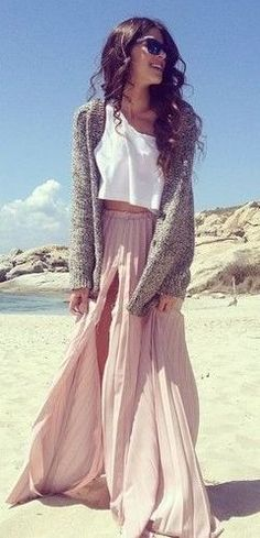 maxi pleated skirt in blush + crop top <3