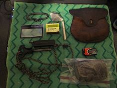 fire starting kits in leather pouches Bushcraft Skills, Bushcraft Gear, Bushcraft Camping, Camping Gear, Outdoor Survival Gear, Survival Items, Survival Tools, Belt Pouch, Do It Yourself Projects