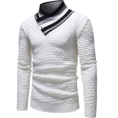 XiaoShop Men Long Sleeve Relaxed-Fit Ribbing Edge Mock Neck Pullover Knitwear