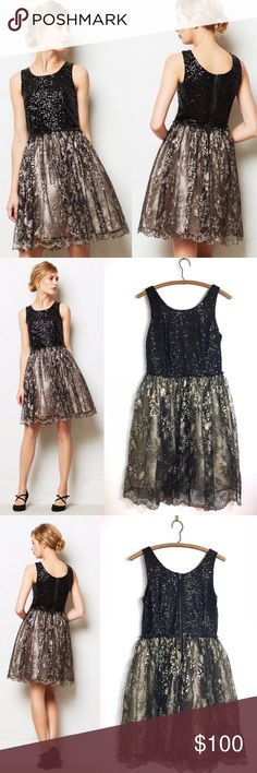 """Anthropologie Leifsdottir Eclat Dress Black & Gold Every closet needs a showstopping, head-turning, sparkly-as-can-be party dress at the ready. On our guest list: leifsdottir's mega-watt fit-and-flare. Back zip. Nylon, metallic fibers. BEAUTIFUL Leifsdottir Anthropologie women's sequin and metallic gold special occasion dress in a size 6, good used condition underarm to underarm:  16.5"""" back of neck to bottom hem:  33"""" shoulder strap to bottom hem:  38"""" Chest: 34"""" Waist: 28"""" Anthropologie…"""
