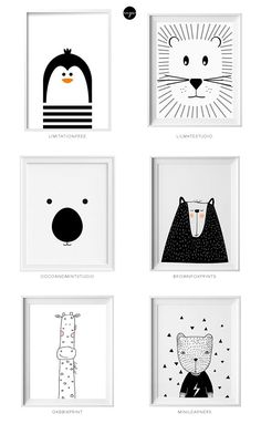 Black and white kids art from Etsy