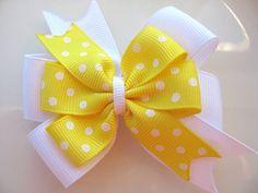 Heidi  Double layered pinwheel hair bow in by cuteasabuttonstudio, $3.00