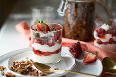 Strawberry Parfait, Yogurt Parfait, Almond Pound Cakes, Purpose, Pudding, Child, Breakfast, Desserts, Postres