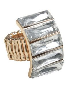 Stacked Faceted Stone Cocktail Ring - ARDEN B. #Ring #Sparkle #Rhinestones