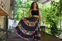 """Купить """"Обнимашка цветочно-горошковая"""" - разноцветный, цветочный, летняя юбка, юбка в пол, длинная юбка"""