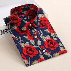 Brand New Women Floral Shirts Cotton Long Sleeve Shirt Women Floral Print Shirt Casual Ladies Blouse Turn Down Collar Women Tops