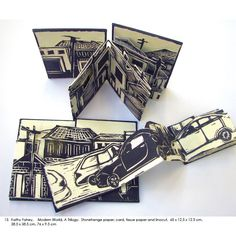 Kathy Fahey Modern World A Trilogy Stonehenge paper card tussue paper and linocut 65 x 125 x 125 cm 385 x 385 cm 76 x 95 cm Concertina Book, Accordion Book, Up Book, Book Art, Book Projects, Handmade Books, Tampons, Stop Motion, Portfolio