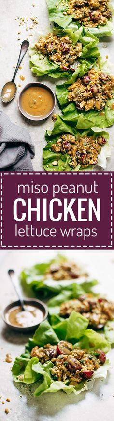 Creamy Miso Peanut Chicken Lettuce Wraps - grilled chicken and juicy grapes tossed with a simple creamy miso-peanut sauce. Super easy and healthy recipe! | pinchofyum.com