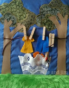 Quiet book page of clothesline maybe the washing machine on the other page - love the use of lace as the basket! #quietbook