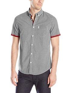 Ben Sherman Men's Short Sleeve Button-Down Shirt with Contrast Cuff