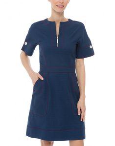 Navy Cotton Pique Dress | Piazza Sempione | Halsbrook