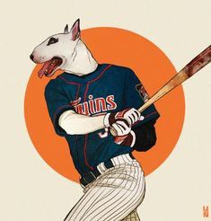 Stylish And Eye-Catching Illustrations Of Animals With Human Characteristics - DesignTAXI.com  Bull Terrier   Digital artist Kim Nguyen has an amazing illustration series titled 'Anthro' and 'Anthro II' featuring stylish animals with human characteristics.