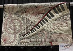 Shimmering Symphony by Karlee Porter, One of the best music theme quilts I've seen. Look at the quilting in this!