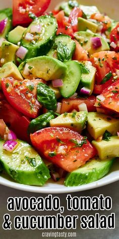 Delicious avocado, tomato and cucumber salad that is full of rich, intense summer flavors. The bright, tangy and slightly sweet dressing makes this salad delightful. Cucumber Avocado Salad, Avocado Salad Recipes, Summer Salad Recipes, Healthy Salad Recipes, Vegetarian Recipes, Cooking Recipes, Avocado Salad Dressings, Recipe For Cucumber Salad, Avocado Cucumber Tomato Salad