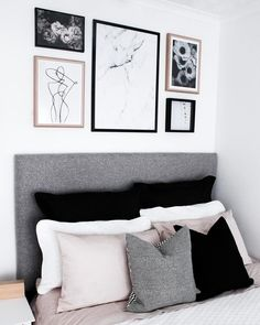 Desenio and yorklee print for an above bed gallery - modern nordic bedroom inspo Bedroom Pictures Above Bed, Bedroom Wall Decor Above Bed, Gallery Wall Bedroom, Bedroom Prints, Bedroom Decor, Bedroom Inspo, Bedroom Ideas, Bedroom Headboards, Bed Wall