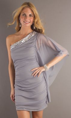 Short One Sleeve Dress, Sexy Cocktail Dresses - Simply Dresses