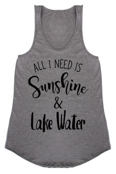 Gray All I Need is Sunshine & Lake Water Graphic Racerback Tank Top 95% Rayon, 5% Spandex