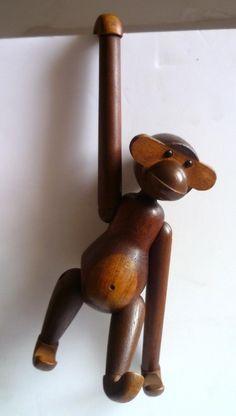 Original Kay Bojesen Articulated Teak & Limba Monkey Made In Denmark 1950 Had one..... Where did it go???