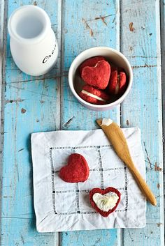 Heart-shaped red velvet cookies with cream-cheese icing. Cuteness. Via Mint Design blog.