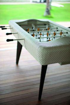 Beach Vintage Details- A foosball table in an open-air bar