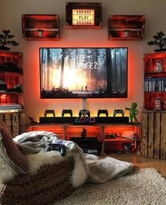 Gaming Mancave # Sunday Game room and console now console. Gamer Room Pc Gaming Setup Game Room Design Video Game R Game Room Decor, Room Decorations, Mens Room Decor, Nerd Decor, Boy Decor, Christmas Decorations, Man Cave Items, Video Game Rooms, Video Games