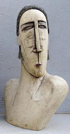 Ceramic Sculpture - Ceramic bust sculpture beautiful man sculpture - home decor art ideas Part of a series - Items sold separately 25x42 cm Handmade ceramic b