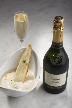 Casillero del Diablo Brut Reserva and Cream of Oyster Soup With fresh oysters