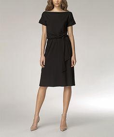 Look at this Black Tie-Waist Zip-Neck Dress on #zulily today!