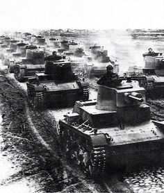 Polish tank 7TP Armoured in formation during the first days of the 1939 defensive war.