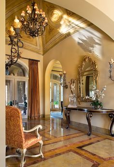 Impressive one-story Tuscan Foyer with beautifully painted groin ceiling :: Jennifer Bevan Tuscan Decorating, Foyer Decorating, Interior Decorating, Tuscan Design, Tuscan Style, Foyers, Foyer Design, House Design, Beautiful Interiors