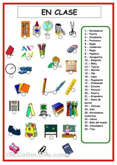 Classroom objects and school supplies - ESL worksheet by Spanish Worksheets, Spanish Vocabulary, Spanish Activities, Vocabulary Worksheets, Spanish Games, Spanish 1, Printable Worksheets, Spanish Teacher, Spanish Classroom