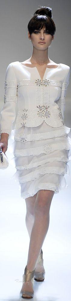 Valentino ~ Elegant Silver Embellished White Skirt Suit 2015