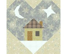 The Heart and Home block paper piecing quilt pattern has easy directions and marked paper piecing patterns to create a 6 inch heart House Quilt Patterns, Heart Quilt Pattern, Paper Pieced Quilt Patterns, House Quilts, Pattern Blocks, Baby Quilts, Patchwork Quilting, Block Patterns, Quilting Ideas