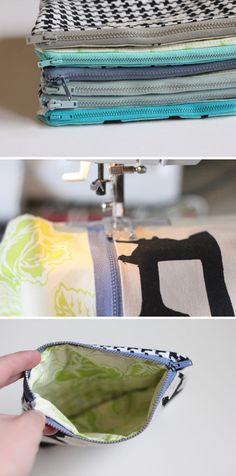 Love this one!! Totally customizable... just be sure to err on the side of just shorter than the zipper :) Simple DIY zippered bag tutorial - from see kate sew