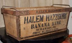 REDUCED-Antique Wood Storage Box, Banana King, Extra Large Vintage Crate, Industrial Carry All, Handled Wooden Crate, Home & Living