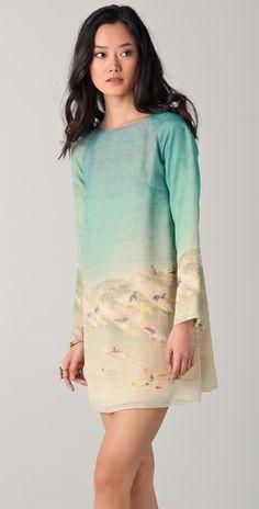 Harvey Faircloth    Surf Printed Long Sleeve Dress