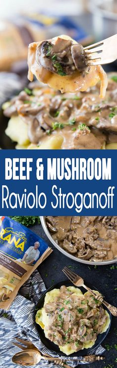 Beef and Mushroom Ravioli Stroganoff with delicious sauce is a. Beef and Mushroom Ravioli Stroganoff with delicious sauce is a comfort food dinner my family is obsessed with Crockpot Recipes, Chicken Recipes, Cooking Recipes, Beef Dishes, Food Dishes, Main Dishes, Pasta Dishes, Mushroom Ravioli, Easy Dinner Recipes