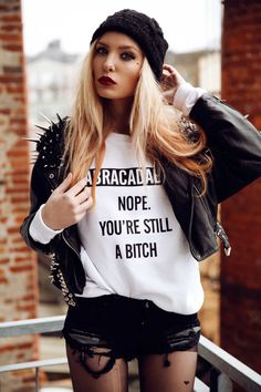 Statement Jumper, Jacket, Handpiece, One Teaspoon Shorts | ABRACADABRA ! nope. you're still a ↯☠#☁† (by Lina Tesch) | LOOKBOOK.nu