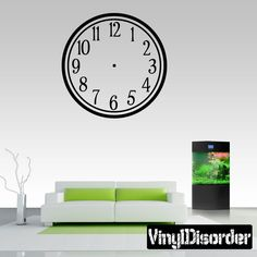 Large wall clock decal kit with working hands and mechanism wall clocks simle numbers clock faces face vinyl wall decal mural quotes words cf003 solutioingenieria Image collections