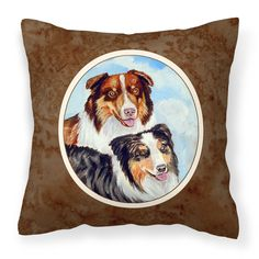 Australian Shepherd What a pair Fabric Decorative Pillow 7009PW1414