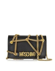 BLACK LEATHER WALLET/CLUTCH MOSCHINO