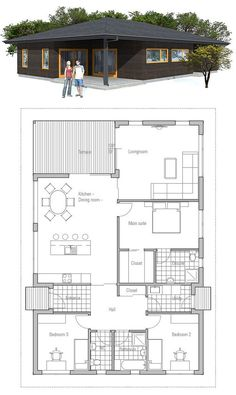 Small house plan, covered terrace, three bedrooms, affordable building budget. Small home design.