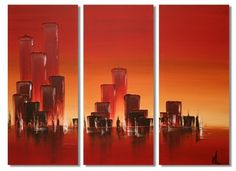 Sunset Skyline by Kris Hardy  Original modern acrylic art on canvas, triptych 3 piece art by Hull-based and Lucy Art guest artist Kris Hardy. Hand painted in red, orange and yellow with all sides painted.