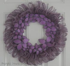 Purple Hues and Me: Burlap Fringed and Bendable Flowered Wreath