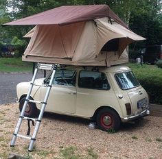 Roof Top Tents from Top-Tent Best Prices and Customer Service. Mini Cooper Classic, Mini Cooper S, Classic Mini, Classic Cars, Top Tents, Roof Top Tent, Motorcycle Camping, Camping Gear, Rooftop Tent Camping