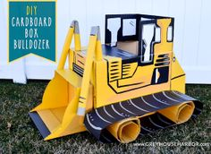 DIY Cardboard Box Bulldozer - for the construction party - Looks like a lot of work but very creative